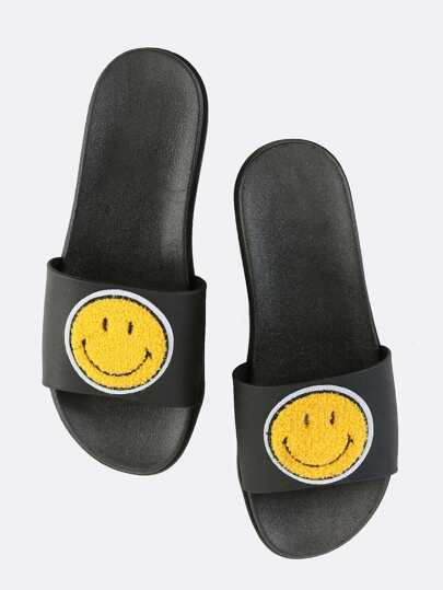 Happy Face Slide Sandals BLACK MULTI