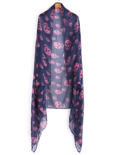 Navy Tone Pink Skull Print Voile Scarf