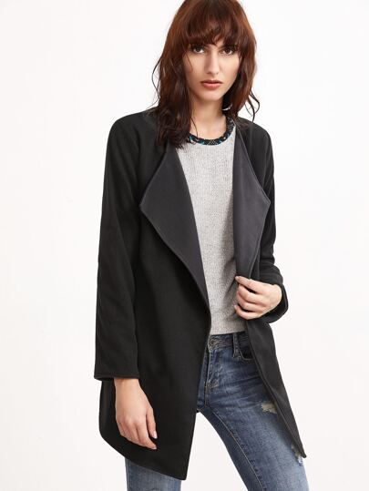 Black Slit Side Curved Hem Coat