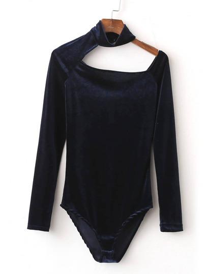 Navy Cutout Choker Asymmetric Velvet Bodysuit