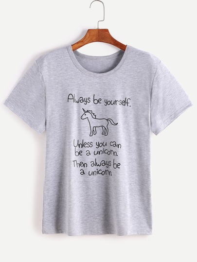 Heather Grey Slogan Drucken Kurzarm T-Shirt