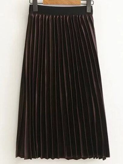Coffee Pleated Midi Skirt