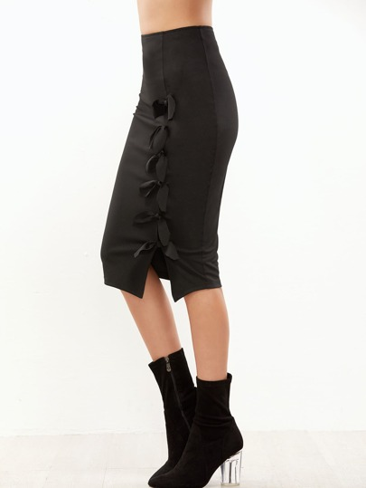 Black Knotted Split Front Pencil Skirt