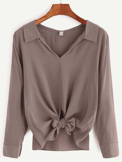 V Neck Knotted Hem Blouse
