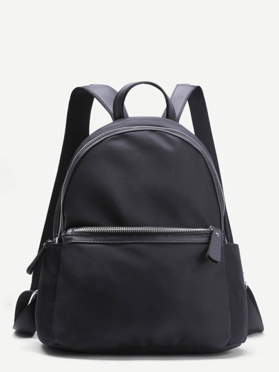 Black Zip Front Canvas Simple Backpack