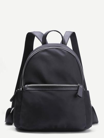 Sac à dos en toile simple zippé devant -noir