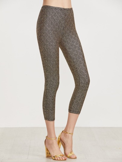 Gold Crop Sparkle Leggings
