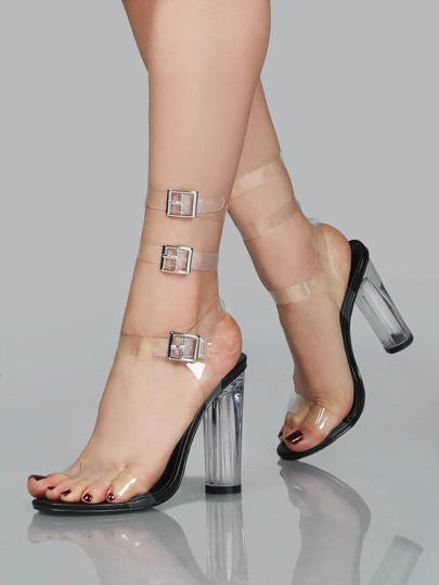 Clear Double Strap Chunk Heel Sandals BLACk
