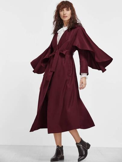 Burgundy Ruffle Trim Wrap Trench Coat