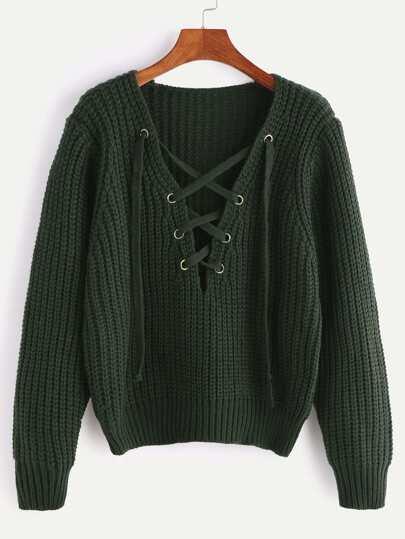 Pullover V-Ausschnitt Schnüren Klobigmuster-armee grün