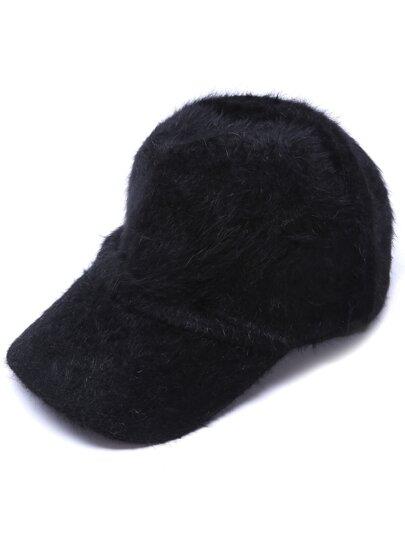 Cappello Da Baseball Termico Di Pelle Di Coniglio - Nero
