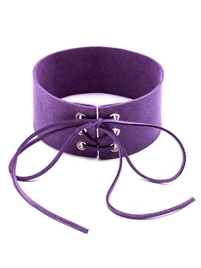 Collana Larga Di Scamosciata Nodo E Lacci A Fronte - Violetto