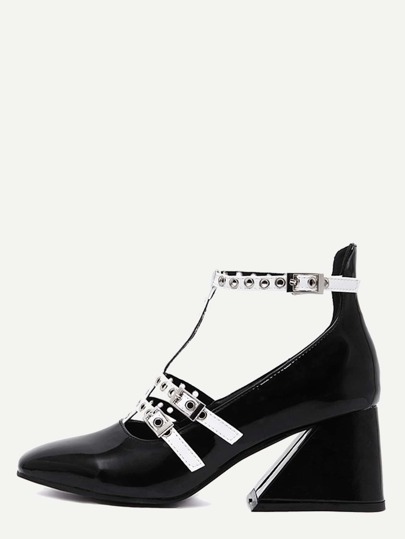Black Patent Leather Square Toe T Strap Pumps