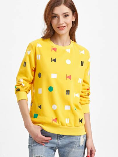 Yellow Media Player Button Print Sweatshirt