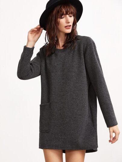 Dark Grey Ribbed Tee Dress With Pocket