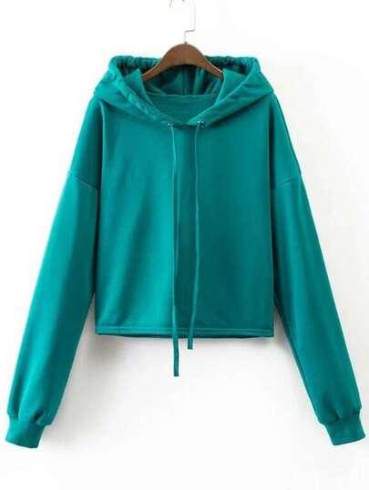 Blue Drop Shoulder Casual Sweatshirt