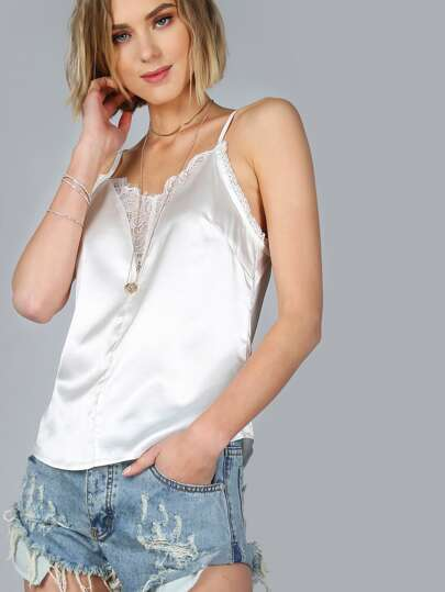 White Floral Lace Insert Cami Top
