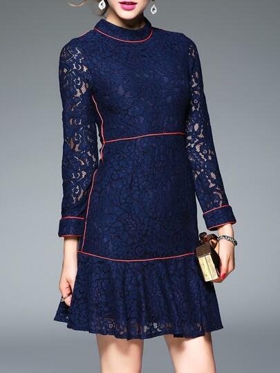 Navy Kragen schiere Spitze Kleid mit Rüschen