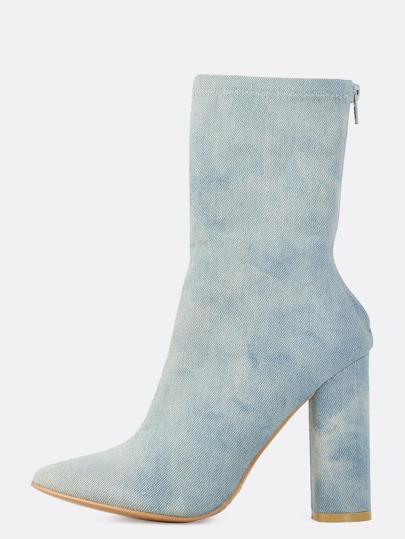 Pointed Denim Ankle Boots DENIM