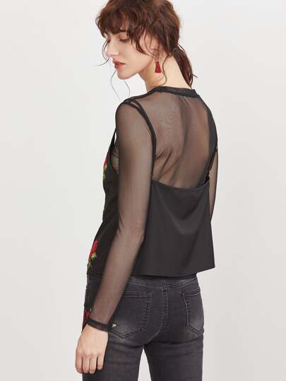 Black Sheer Mesh Top With Embroidered Rose Applique Cami Top