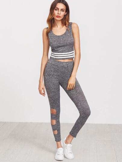 Grey Marled Knit Striped Crop Tank Top With Cutout Leggings