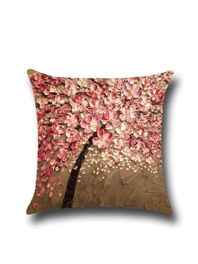 Ölgemälde von Pflaumenblüten Leinen Kissenbezug