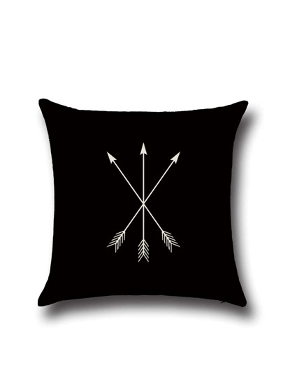 Black Three-arrow Pattern Linen Cushion Cover