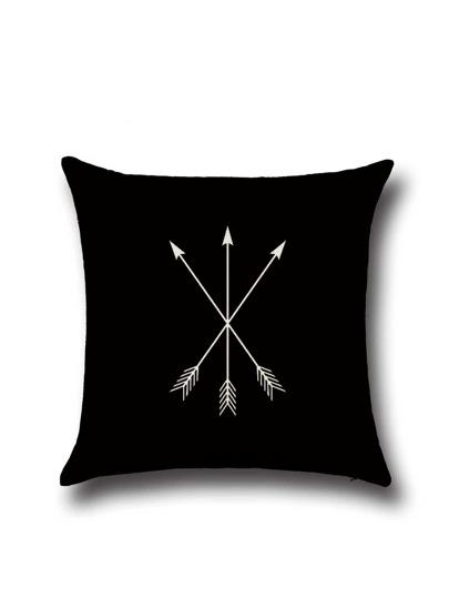 Housse de coussin en motif de trois flèches de lin -noir