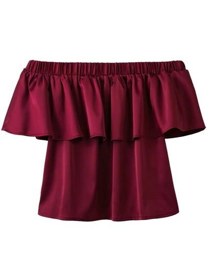Burgundy Off The Shoulder Ruffle Blouse