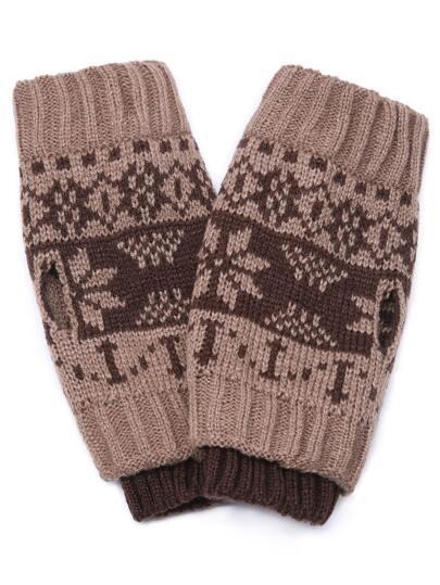 Бежевые ребристые перчатки с принтом снежинки