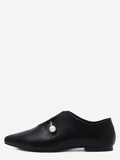 Zapatos planos en punta con perla - negro