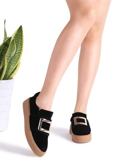 Chaussures de sport en métal embelli semelle en caoutchouc -noir