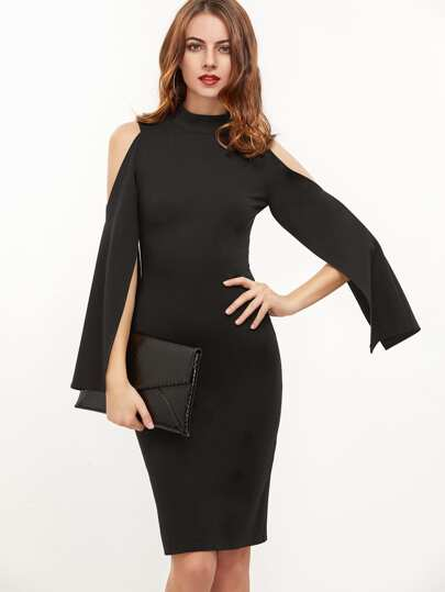 Black Open Shoulder Slit Sleeve Pencil Dress