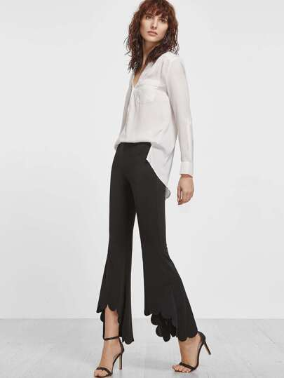Asymmetric Scallop Hem Flared Pants