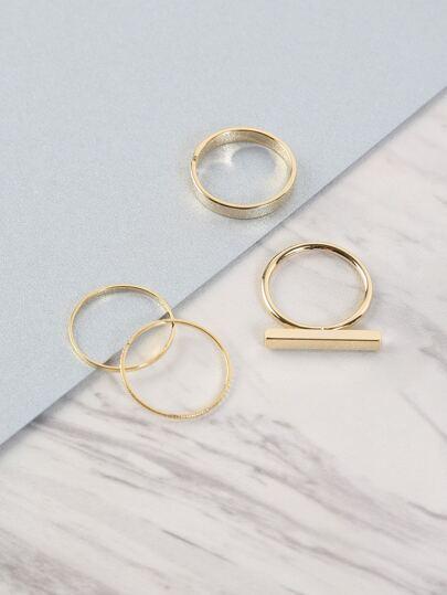 Statement Bar Ring Set GOLD