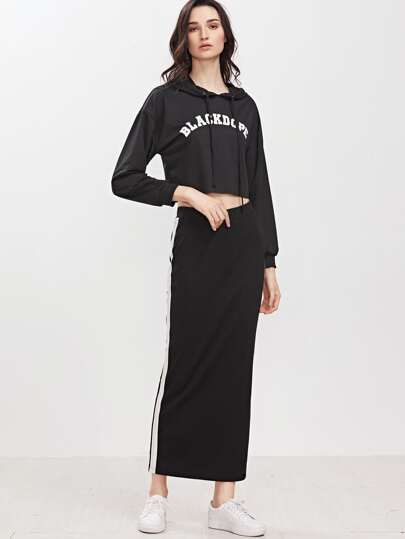 Black Elastic Waist Contrast Panel Long Skirt