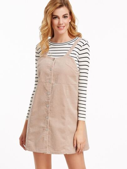 Apricot Corduroy Single Breasted Overall Dress