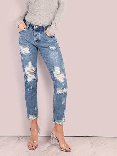 Frayed Hem Distressed Denim Pants DENIM