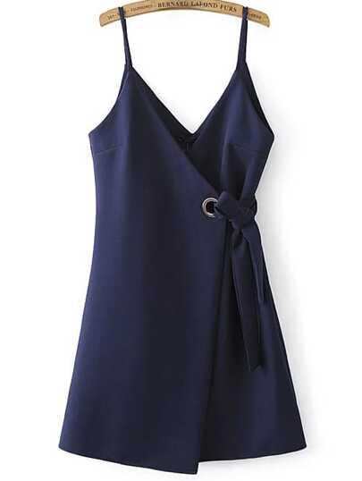 Navy Spaghetti Strap Side Tie Asymmetrical Dress