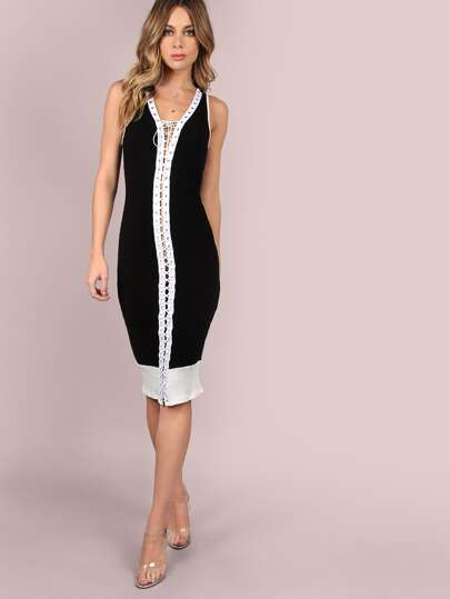 Fully Laced Up Rib Knit Midi Dress BLACK WHITE