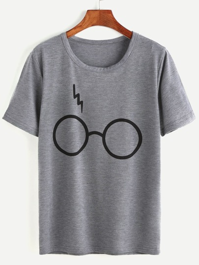 Heather Grey Glasses Print T-shirt