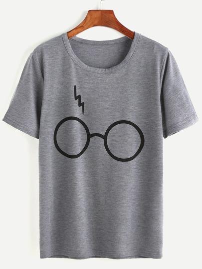 T-shirt imprimé lunettes -gris bruyère