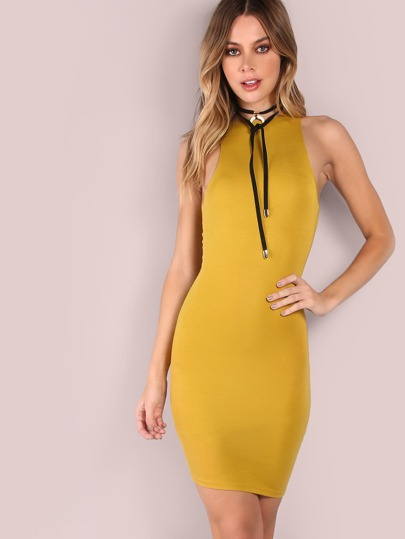 Vestito Bodycon Scollo Incrociato - Giallo