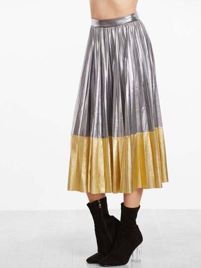 Metallic Contrast Pleated Midi Skirt