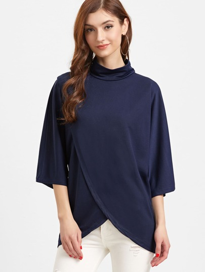 Navy High Neck Wrap T-shirt