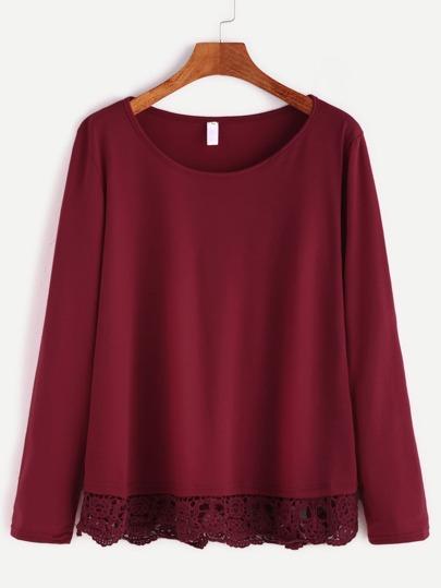 Burgundy Contrast Crochet Hem T-shirt