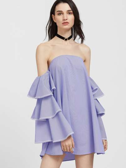 Blue Contrast Lace Trim Layered Ruffle Sleeve Off The Shoulder Dress