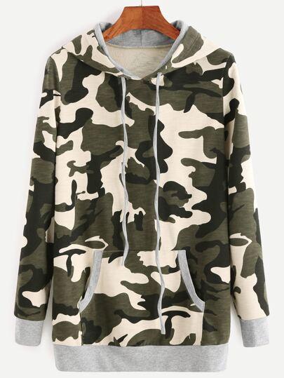 Camouflage Print Drawstring Hooded Sweatshirt With Pocket