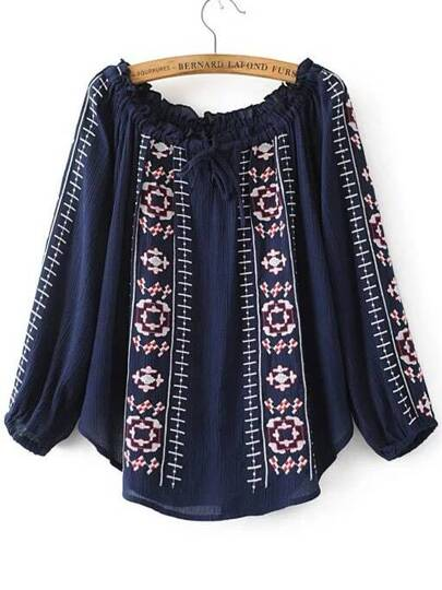 Navy Embroidery Ruffle Off The Shoulder Blouse