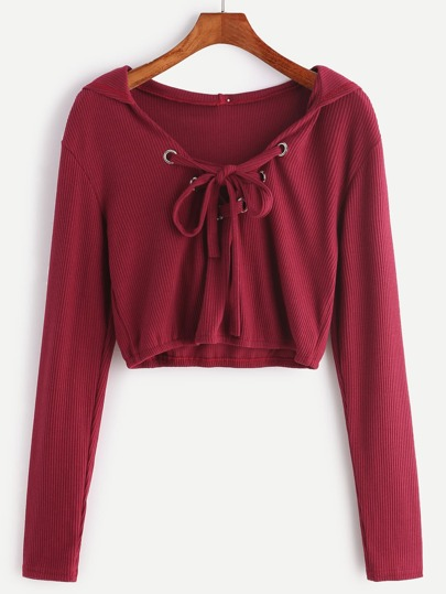 Burgundy Hooded Eyelet Lace Up Ribbed Crop T-shirt